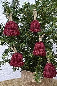Anhänger Geschenkanhänger Christbaumanhänger Deko Herbst Weihnachten Advent Mütze 5teilig rot braun gestrickt und gehäkelt