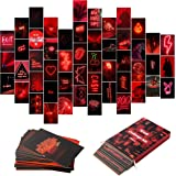 50PCS Red Neon Aesthetic Pictures Wall Collage Kit, Neon Red Photos Collections Collage Dorm Decors for Girl Teens and Women,