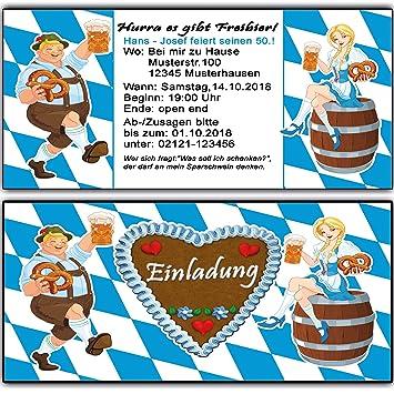 Einladungskarten Zum Geburtstag Oktoberfest Bayrisch Einladung 60 Stück  O Zapft Is Hüttengaudi Geburtstagseinladung Mottoparty Karte Bayernn:  Amazon.de: ...