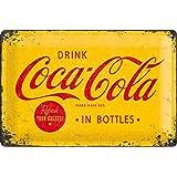 Nostalgic-Art Metalen Retro Bord, Coca-Cola – Logo Yellow – Geschenktip voor Coke-fans, van metaal, Vintage ontwerp voor deco