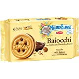 Mulino Bianco Biscotti Baiocchi con Crema alla Nocciola e Cacao per Colazione e Snack Dolce per la Merenda, 6 Porzioni da 6 B