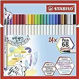 Pennarello Premium con punta a pennello - STABILO Pen 68 brush - Astuccio da 24 - con 19 colori assortiti