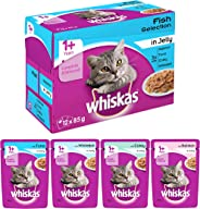 Whiskas Adult (+1 year) Wet Cat Food, Fish Selection (Salmon, Coley, Tuna, Whitefish), 12 Pouches (12 x 85g)