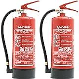 2X 6kg ANDRIS® Feuerlöscher ABC Pulverlöscher EN3 mit Manometer, Sicherheitsventil + Prüfnachweis, 10 LE