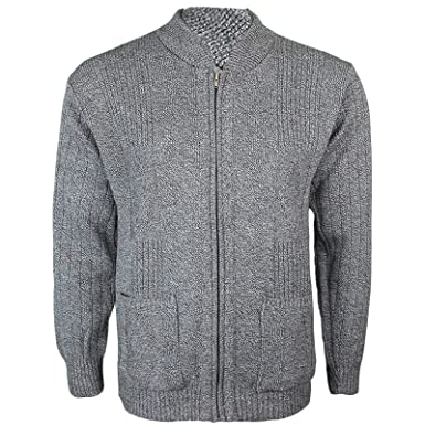 Mens Knitted Cardigan Classic Style Cardigans V Neck Zipper Jumper ...