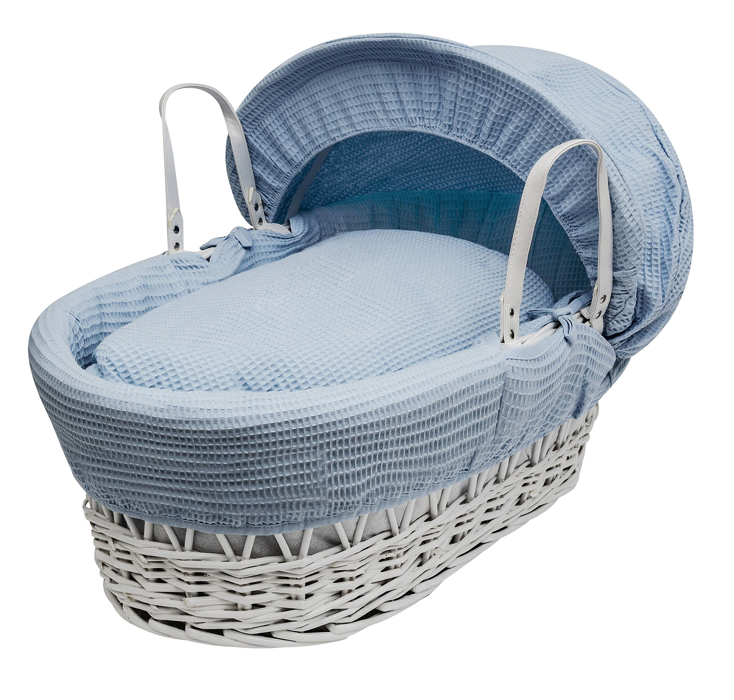 Blue Waffle Moses Basket Dressings only(Basket not included) Elegant Baby Dressings For Moses Baskets Includes Padding,Quilt, Liner,Fabric Hood Basket and Mattress and Hood bars are NOT included 1