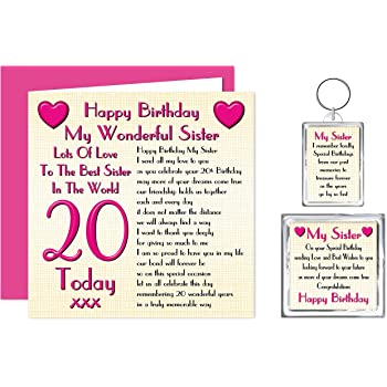Sister 25th Happy Birthday Gift Set - Card, Keyring & Fridge