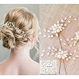 Bridal Hair Pins - 3pcs Fashion Retro Elegant Ladies Pearl Rhinestone Hair Accessories for Wedding Bridal Jewelry Bridal…
