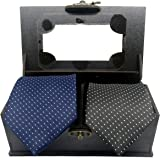Luxeis Men Premium Neck Tie Gifting Combo in wooden Box (Black, Navy Blue; Free Size) (Pack of 2)