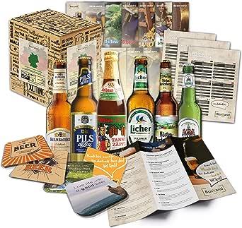 """Idée cadeau""""Spécialités de bière d'Allemagne"""" pour homme INCL. Dessous de verre + coffret cadeau + info bière. Idée cadeau insolite pour homme (6x0.33l)"""