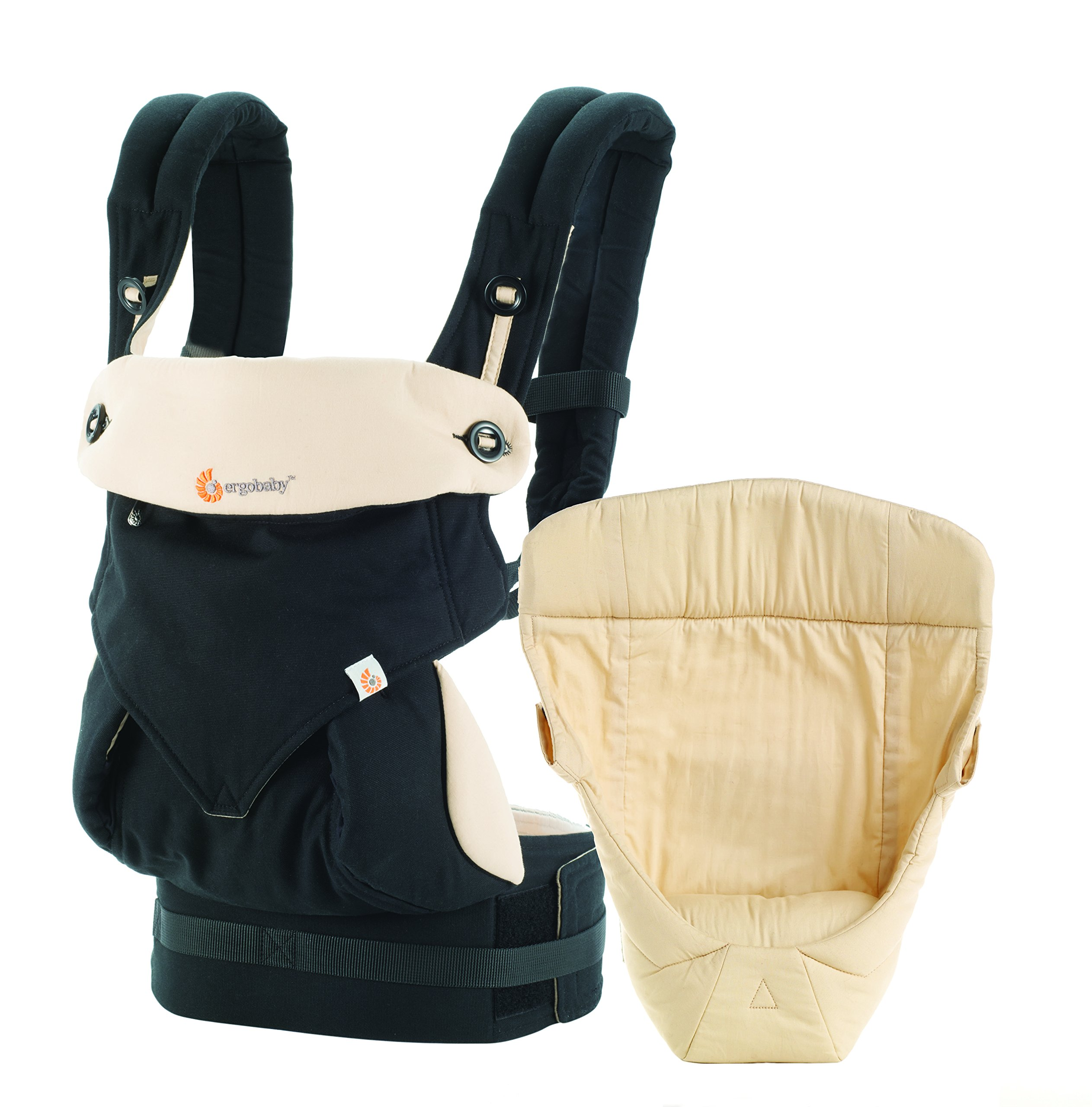 Ergobaby Baby Carrier for Newborn to Toddler incl Infant Insert, 360 Black/Camel 4-Position Ergonomic Child Carrier and Backpack Ergobaby 4 ergonomic wearing positions: parent facing, on the back, on the hip and on the front facing outwards Structured bucket seat helps to maintain the correct frog-leg position. Wide waistband for extra back support Optimum comfort when worn thanks to adjustable, extra-wide waistband to support the lower back 1