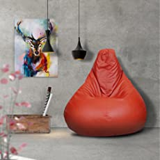 Story@Home XL Leatherite Single Seating Tear Drop Bean Bag Chair Cover Without Filler, Red