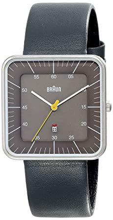 braun men s watch square dial and leather strap amazon co uk braun men s watch square dial and leather strap