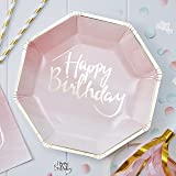 Pick and Mix - Gold Foiled Pink Ombre Happy Birthday Paper Plates