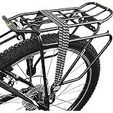 BV Fahrrad-Spanngurt, Fahrradgummi Gepäckträgergurt mit 2 Silber-Haken, Bike Black, Grey & White Triple Elastic Strap with Silver Mounting Metal Attachments