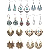 LOLIAS 10 Pairs Bohemian Vintage Drop Dangle Earrings for Women National Style Hollow Statement Earrings Retro Metal Drop Ear