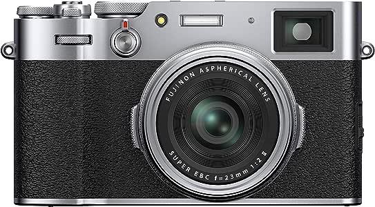"""Fujifilm X100V Fotocamera Digitale Compatta 26Mp, Sensore X-Trans Cmos 4, Obbiettivo 23Mmf2, Filmati 4K 30P, Mirino Ibrido, Schermo LCD 3"""" Touch Orientabile, Argento"""