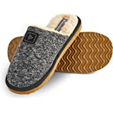 Dunlop Mens Slippers Open Back, Comfy Memory Foam Men Slippers with Rubber Sole, Indoor Outdoor Anti Slip House Shoes Comfort