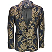 Xposed Mens Designer Flocked Damask Print Tuxedo Jacket Navy Gold Dinner Tailored Fit Smart Dress Blazer