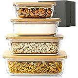 KIVY® Matförvaringsbehållare i glas [set med 4] – premiumglasbehållare med hållbart bambulock – BPA-glasskålar med lock – gla