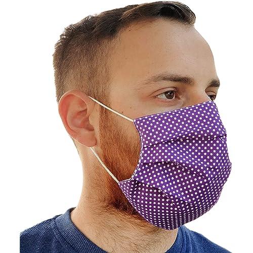 Lilind Maschera comodo per il viso alla Moda, Tessuto 100% Cotone, Riutilizzabile, Traspirante, Handmade, Motivo a Punti viola