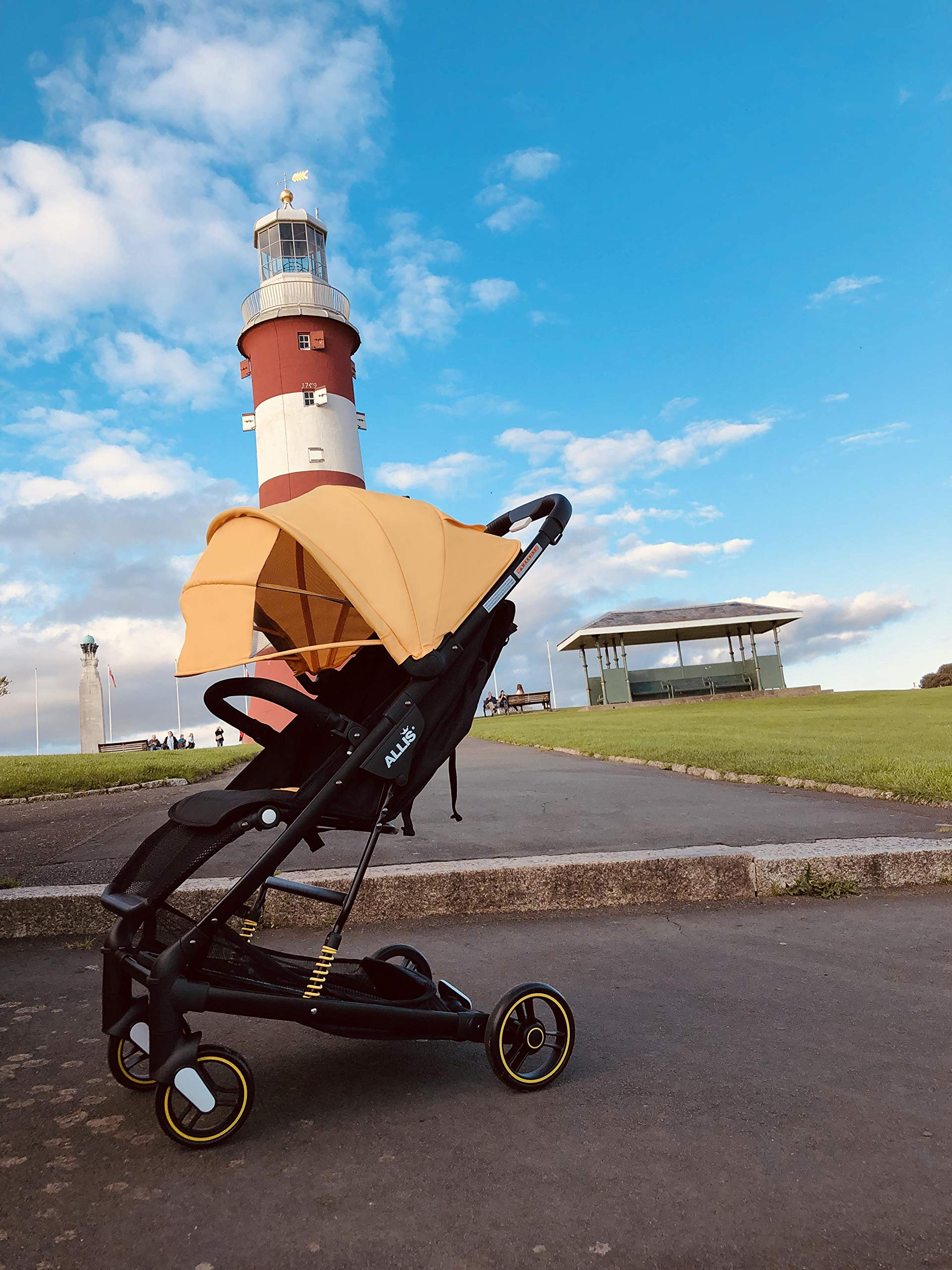 Allis Travel Stroller Baby Buggy Pram Lightweight Pushchair - Yellow Allis Baby Made according to British Standard EN1888, Fire Safety Regulations 1988. Lockable 360 swivel wheels, removable and suspension. Ultralight Design:Aluminium frame. Suitable from 6M - 4Ys ( upto 15Kg Approx) 3