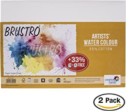 Brustro Artists' Watercolour Paper 200 GSM A5-25% cotton CP 2 Packets (Each Packet Contains 18 + 6 Sheets Free)