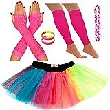 Redstar Fancy Dress® - Pack de Fiesta - Tutú, Calentadores, Guantes, Collar y brazaletes - Neón - Multicolor - 63 - 73 cm
