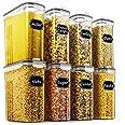 Wildone Lot de 8 récipients hermétiques pour céréales et aliments secs - capacité de 2,5 L pour sucre, farine, etc - couvercl