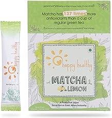 Happy Healthy Matcha Lemon Green Tea Powder - No Added Sugar, Mixes instantly, Helps weight loss, Antioxidant-rich Health Drink (FHL01)
