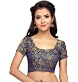 STUDIO Shringaar Women's Traditional Benaras Brocade Saree Blouse with Short Sleeves