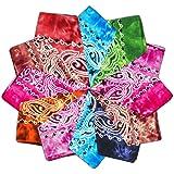 Vivibel Bandana 100% cotone, 12 cachemire, 55 x 55 cm, foulard per braccia, colori misti, per il collo, per la testa, foulard