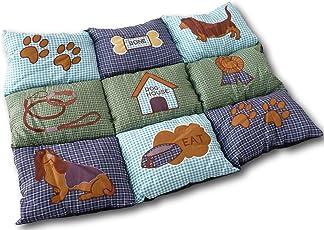 UrbanDesign Weiche Hundedecke Hundebett Hundekissen Hundeschlafplatz Tierdecke Tierbett Hunde Tier Decke Kissen 78 x 45 cm Patchwork Farbmuster