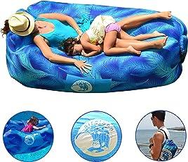 Aufblasbare Liege mit Integriertem mitten Innenmasche und ergonomish Kissen für deinem Rückem / Wasserdichtes, klappbares Sofa für Strand, Camping, Partys, Hinterehof, Garten / Trarbarer sitzsack