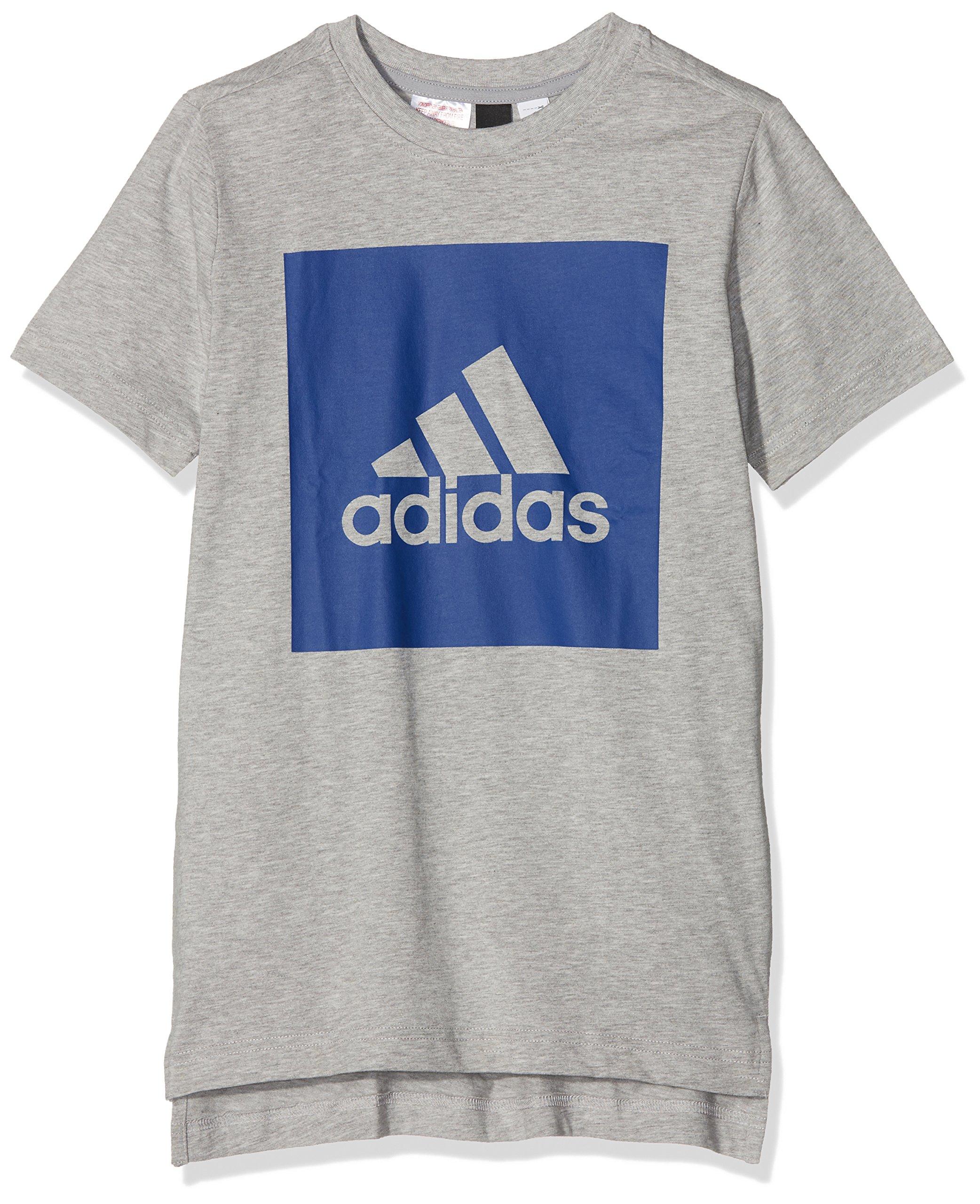 adidas Yb Logo Tee 2, Maglietta Unisex Bambini, Grigio (Brgrin/Reauni), 176