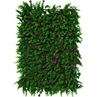 SAJAWAT Artificial Vertical Grass Wall Panels & Tiles for Balconies & Outdoor Areas (Green & Pink , 60 x 40 CMS, Covers…