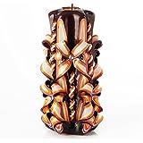 Ik Style - Candela grande intagliata a mano, senza profumo, perfetta decorazione per la casa o come regalo per molte occasion