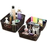 Amazon Brand - Solimo 3 Piece Storage Basket Set, Brown