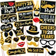 Wobbox 25th Anniversary Photo Booth Party Props DIY Kit, Golden Gliter & Black , Anniversary Party Decoration