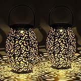 Gadgy Solarna Latarnia Zewnętrzna | Zestaw 2 sztuk Orientalne latarnie ogrodowe metalowe IP44 Wodoodporne | 21,5 x 15 cm. | l