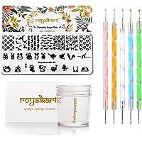 Royalkart Nail Stamping Kit 1 Stamping Image Plate, Jelly Nail Silicone Stamper & Scraper & Dotting Tool With Animal…