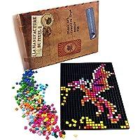La Manufacture du Pixel - Kit 1 Grille et 2 000 Pixels à insérer (Noir) - Pixel Art, Loisir Créatif, Mosaïque, Fun…