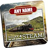 Personalised Coasters - Any Name's STEAM Train Wine Drinks Tea Coffee Mat (Qty 1) Home, Birthday, Christmas, Fathers Day Gift