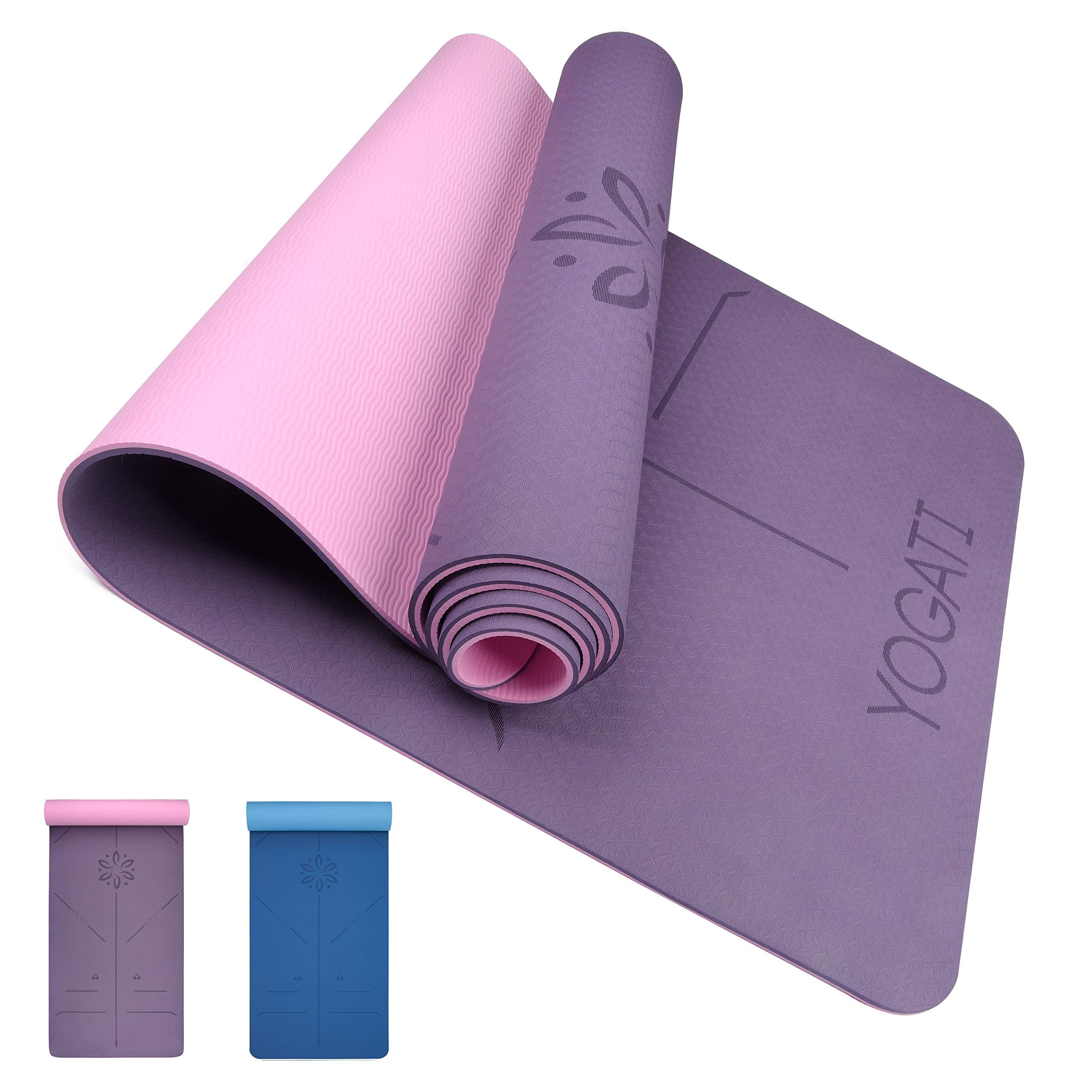 Yogati Yoga Mat With Body Alignment Lines Yoga Mats With Carry Strap Perfect For Pilates And Fitness Workout Eco Friendly Non Slip Thick Yoga Mats For Women And Men Yoga Matt