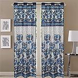 Queenzliving Grandeur Curtain for Door 7 feet- Pack of 2, Blue