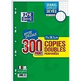 OXFORD Lot de 300 Pages Copies Doubles Perforées A4 (21 x 29,7cm) 90g Grands Carreaux Seyès avec Marge