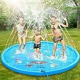 Dookey Splash Pad Sprinkler Play Matte Großes Sommer Garten Wasserspielmatte für Kinder Aktivitäten/Party/Strand/Garten (hellblau)