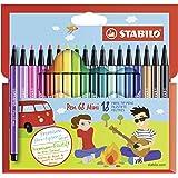STABILO Premium-Filzstift - STABILO Pen 68 Mini - 18er Pack - mit 18 verschiedenen Farben