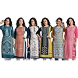 Naixa Women's Crepe Straight Stitched Kurta (Pack of 6) ()