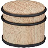 Relaxdays Deurstopper, voor zware deuren & ramen, roestvrij staal & rubber, houtlook, hoge vloerbuffer, diameter 9,5 cm, lich